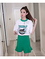 Women's Going out Casual/Daily Modern/Comtemporary Summer T-shirt Skirt Suits,Pattern Round Neck Half Sleeve
