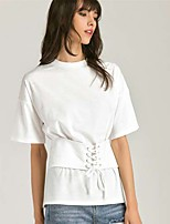 Women's Going out Casual/Daily Sexy Simple T-shirt,Solid Round Neck Short Sleeve Silk Cotton