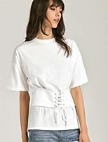 Tee-shirt Femme,Couleur Pleine Sexy simple Manches Courtes Col Arrondi Soie Coton