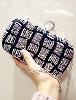 Women Evening Bag PU All Seasons Event/Party Party & Evening Club Baguette Sequined Magnetic Coffee Silver
