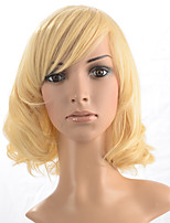 Capless Short Curly Wig Synthetic Fiber Wig Blonde Women Costume Wig