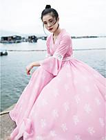 Для женщин На каждый день С летящей юбкой Платье Однотонный,V-образный вырез Средней длины Длинный рукав Полиэстер Лето С высокой талией