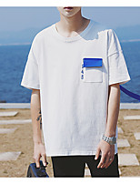 Men's Casual/Daily Sweatshirt Letter Round Neck Micro-elastic Cotton Short Sleeve Summer