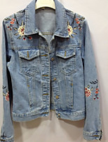 Women's Going out Casual/Daily Vintage Simple Spring Denim Jacket,Floral Solid Shirt Collar Long Sleeve Regular Cotton Embroidered