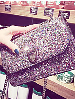 Women Shoulder Bag PU All Seasons Event/Party Casual Club Flap Sequined Clasp Lock Gray Silver Black