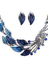 Women's Jewelry Set Rhinestone Euramerican Fashion Alloy Leaf Necklace Earrings For Party 1 Set Wedding Gifts