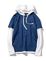 Men's Going out Hoodie Solid Round Neck Micro-elastic Cotton