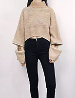Women's Casual/Daily Simple Regular Cardigan,Solid Round Neck Long Sleeve Cotton Polyester Summer Medium Micro-elastic