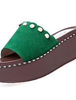 Damen Slippers & Flip-Flops Komfort PU Sommer Outddor Walking Flacher Absatz Schwarz Gelb Grün Unter 2,5 cm