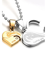 Heart Shape Cubic Zirconia Titanium Steel Pendant Necklaces  Love Personalized Classic Jewelry For Wedding Party/Evening