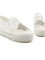 Для женщин Мокасины и Свитер Удобная обувь Полиуретан Весна Повседневные Удобная обувь Белый Серебряный На плоской подошве