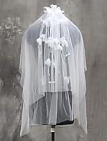 Véus de Noiva Duas Camadas Véu Cotovelo Véu Ponta dos Dedos Corte da borda Rede Tule
