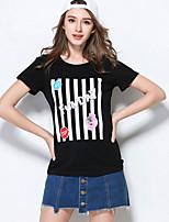 Tee-shirt Femme,Couleur Pleine Décontracté / Quotidien simple Manches Courtes Col Arrondi Acrylique
