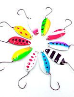 HiUmi Lot 10 pcs 4cm 6g Colorful Trout Lure Fishing Spoon Bait Single Hook Metal Fishing Lure Fishing Tackle Swimbait
