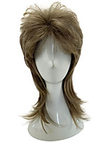 Capless Grey Color Medium Length Curly Layered Synthetic Hair Man Cosplay Wig