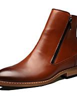 Men's Boots Comfort Novelty Leather Fall Winter Party & Evening Walking Comfort Novelty Zipper Flat Heel Brown Black Flat