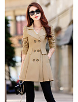 Для женщин На каждый день осень Кожаные куртки V-образный вырез,просто Однотонный Обычная Длинный рукав,Козлиная кожа,Заклепки
