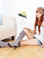 Damen Stiefel Komfort PU Frühling Lässig Schwarz Grau Flach
