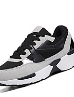 Women's Athletic Shoes Comfort PU Spring Fall Outdoor Casual Lace-up Flat Heel Black/White Gray Flat