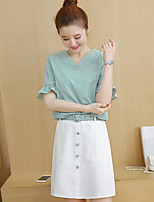 Women's Casual/Daily Simple Summer T-shirt Skirt Suits,Solid V-Neck 1/2 Length Sleeve Micro-elastic