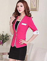 Women's Casual/Daily Simple Summer Suit,Color Block Round Neck 3/4 Length Sleeve Regular Others