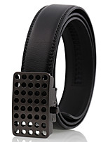 Men's Simple Hollow Black Genuine Leather Alloy Automatic Buckle Waist Belt Work/Casual/Party All Seasons