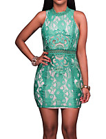 Women's Plus Size Party Club Sexy Vintage Simple Bodycon DressPatchwork Lace Hollow Out Grace Crew Neck Above Knee Sleeveless Spring Summer High Rise