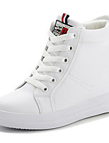 Women's Sneakers Comfort PU Pigskin Leather Spring Casual Black White Flat