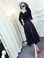 Damen einfarbig Sexy Lässig/Alltäglich Bluse Kleid Anzüge,Rundhalsausschnitt Sommer Lange Ärmel