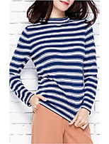 Women's Going out Regular Pullover,Striped Round Neck Long Sleeve Others Spring Fall Thin Micro-elastic