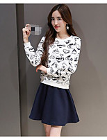 Women's Going out Casual/Daily Sports Sexy Cute Street chic Hoodie Skirt Suits,Print Round Neck Long Sleeve