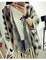 Women's Casual/Daily Simple Long Cardigan,Check Stand Cotton Fall Medium Micro-elastic