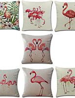 Set Of 7 Mediterranean Style Flamingo Pillow Cover Creative Cotton/Linen Pillow Case Sofa Cushion Cover