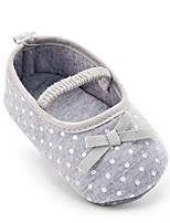 Baby Girls Kids' Loafers & Slip-Ons First Walkers Fabric Summer Fall Party & Evening Dress Casual Bowknot Polka Dot Flat Heel Gray Flat