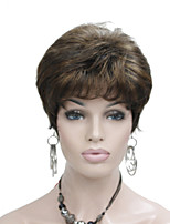 Short Layered BrownHighlights Full Synthetic Wig Wigs for Lady Women