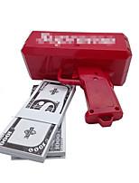Pistola di soldi, fai pioggia! Batteria 9v, soldi di gioco, colore rosso