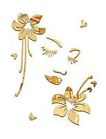 Miroir Floral Personnes Stickers muraux Autocollants muraux 3D Miroirs Muraux Autocollants Autocollants muraux décoratifs,Acrylique