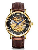 Men's Skeleton Watch Fashion Watch Mechanical Watch Automatic self-winding Calendar Water Resistant / Water Proof Leather Band Brown