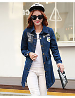 Women's Going out Vintage Spring Denim Jacket,Solid Square Neck Long Sleeve Long Cotton