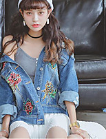 Women's Daily Street chic Spring Denim Jacket,Embroidery Stand Long Sleeve Regular Cotton