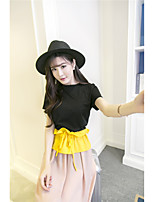 Women's Going out Holiday Cute Spring Blouse Dress Suits,Color Block Round Neck Short Sleeve Patchwork strenchy