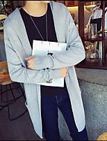 Men's Long Cardigan,Solid V Neck Long Sleeve Polyester Fall Medium Micro-elastic