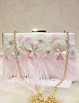 Women Evening Bag PU All Seasons Event/Party Party & Evening Date Baguette Sequined Magnetic Apricot Peachblow Pale Pink White