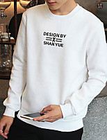 Men's Plus Size Casual/Daily Sports Going out Simple Sweatshirt Letter Oversized Round Neck Fleece Lining Stretchy Cotton