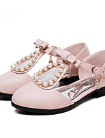 Girls' Flats First Walkers PU Spring Fall Casual Walking First Walkers Magic Tape Low Heel Light Blue Blushing Pink White Flat