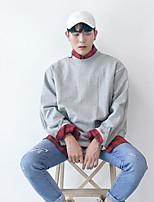 Sweatshirt Homme Quotidien Couleur Pleine Tartan Col Arrondi non élastique Coton Manches longues Printemps Automne