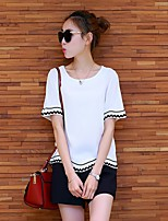 Women's Casual/Daily Simple T-shirt Pant Suits,Solid Striped Square Neck Short Sleeve