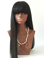 180 Density Glueless Lace Front Human Hair Wigs With Full Bangs Human Hair Full Fringe Wig Straight Brazilian Virgin Hair Wigs