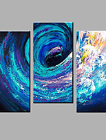 Hand-Painted Abstract Vertical Contemporary Three Panels Oil Painting For Home Decoration