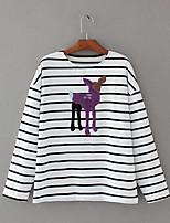 T-shirt Da donna Sensuale Semplice Moda città Estate,A strisce Ricamato Rotonda Cotone Manica lunga Sottile Medio spessore